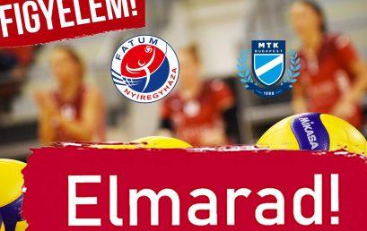 ELMARAD az MTK elleni bajnoki!